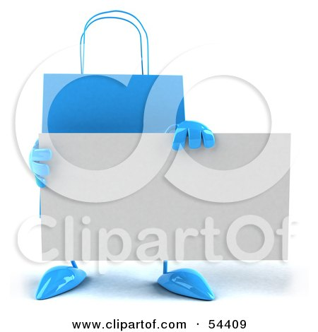 Royalty-Free (RF) Clipart Illustration of a 3d Blue Shopping Bag Holding A Blank Business Card by Julos