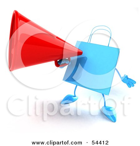 Royalty-Free (RF) Clipart Illustration of a 3d Blue Shopping Bag Announcing Through A Megaphone by Julos