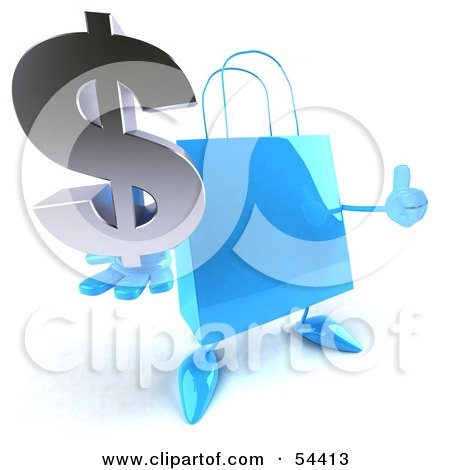 Royalty-Free (RF) Clipart Illustration of a Blue 3d Shopping Bag With Arms And Legs, Holding A Dollar Symbol - Pose 2 by Julos