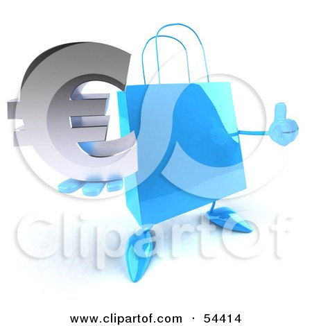 Royalty-Free (RF) Clipart Illustration of a Blue 3d Shopping Bag With Arms And Legs, Holding A Euro Symbol - Pose 2 by Julos
