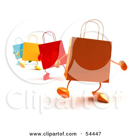 Royalty-Free (RF) Clipart Illustration of a 3d Line Of Colorful Shopping Bags Waddling Forward - Version 1 by Julos
