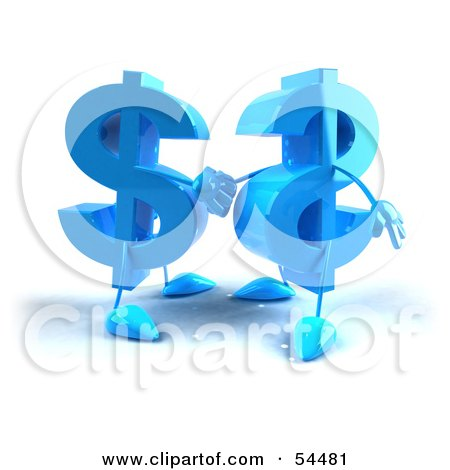 Royalty-Free (RF) Clipart Illustration of Two Blue 3d Dollar Symbols Shaking Hands by Julos
