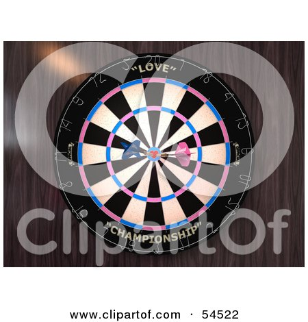 Royalty-Free (RF) Clipart Illustration of a Dartboard With Darts - Version 3 by Julos