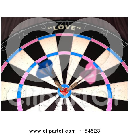 Royalty-Free (RF) Clipart Illustration of a Dartboard With Darts - Version 4 by Julos