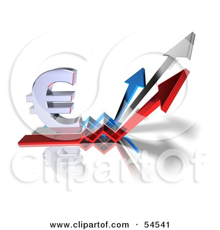 Royalty-Free (RF) Clipart Illustration of a 3d Euro Symbol On Three Increase Arrows - Version 3 by Julos