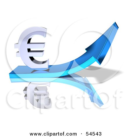 Royalty-Free (RF) Clipart Illustration of a 3d Euro Symbol Riding On A Blue Arrow - Version 1 by Julos