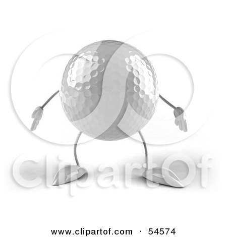 Royalty-Free (RF) Clipart Illustration of a 3d Golfball With Arms And Legs, Facing Front by Julos
