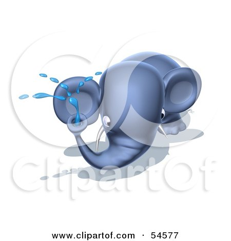 Royalty-Free (RF) Clipart Illustration of a 3d Blue Elephant Character Spraying Water - Pose 5 by Julos