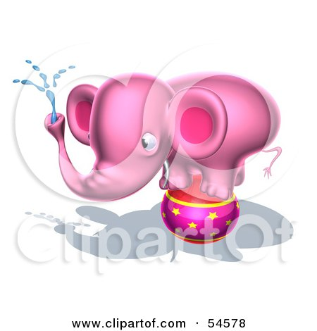 3d Pink Elephant Character On A White Background Posters