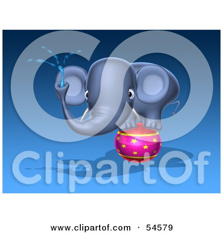 Royalty-Free (RF) Clipart Illustration of a 3d Blue Elephant Character Standing On A Circus Ball And Spraying Water - Pose 1 by Julos