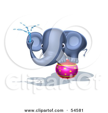 Royalty-Free (RF) Clipart Illustration of a 3d Blue Elephant Character Standing On A Circus Ball And Spraying Water - Pose 3 by Julos