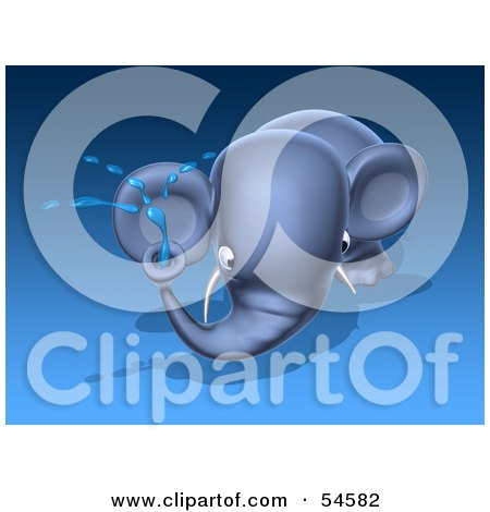 Royalty-Free (RF) Clipart Illustration of a 3d Blue Elephant Character Spraying Water - Pose 2 by Julos