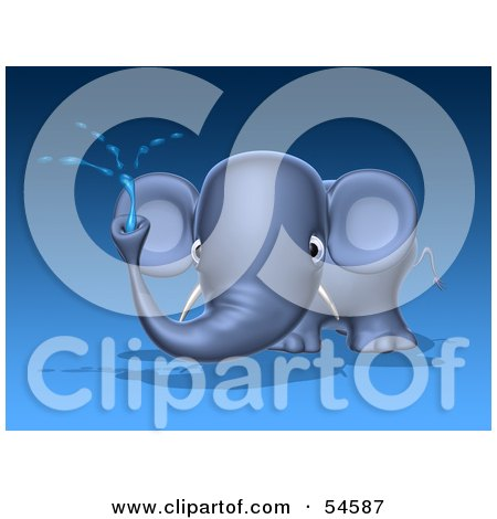 Royalty-Free (RF) Clipart Illustration of a 3d Blue Elephant Character Spraying Water - Pose 1 by Julos