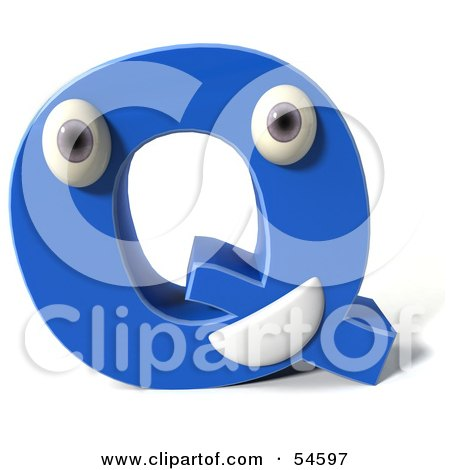 Royalty-Free (RF) Clipart Illustration of a 3d Blue Letter Q With Eyes And A Mouth by Julos