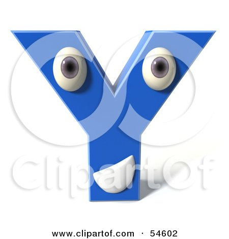 Royalty-Free (RF) Clipart Illustration of a 3d Blue Letter Y With Eyes And A Mouth by Julos