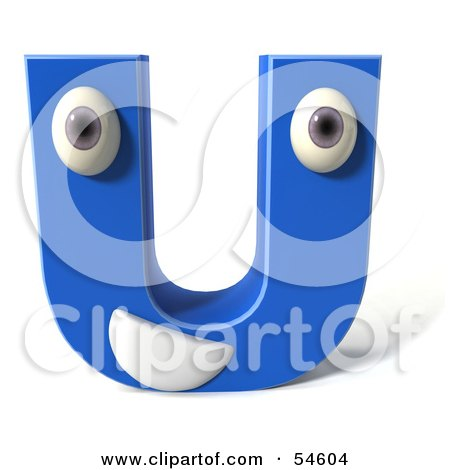 Royalty-Free (RF) Clipart Illustration of a 3d Blue Letter U With Eyes And A Mouth by Julos