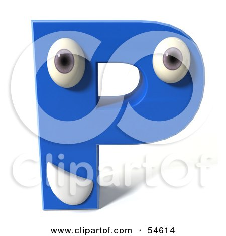 Royalty-Free (RF) Clipart Illustration of a 3d Blue Letter P With Eyes And A Mouth by Julos
