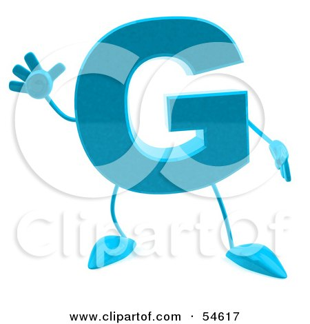 Royalty-Free (RF) Clipart Illustration of a 3d Blue Letter G With Arms And Legs by Julos