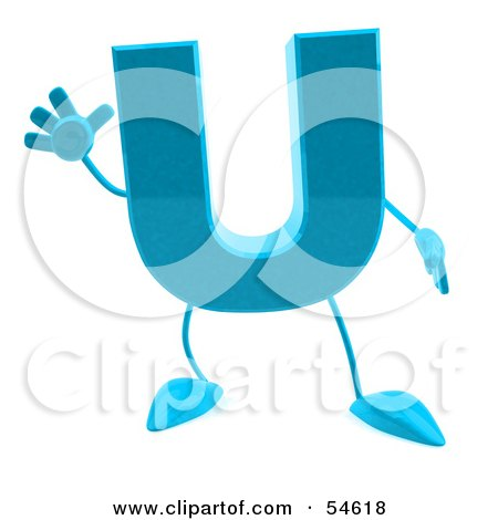 Royalty-Free (RF) Clipart Illustration of a 3d Blue Letter U With Arms And Legs by Julos