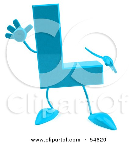 Royalty-Free (RF) Clipart Illustration of a 3d Blue Letter L With Arms And Legs by Julos