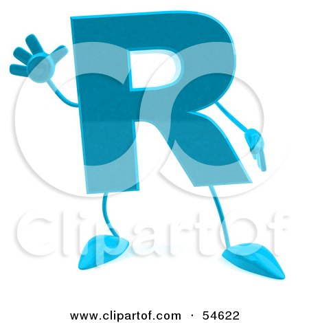 Royalty-Free (RF) Clipart Illustration of a 3d Blue Letter R With Arms And Legs by Julos