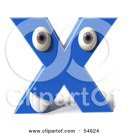 Royalty-Free (RF) Clipart Illustration of a 3d Blue Letter X With Eyes And A Mouth by Julos