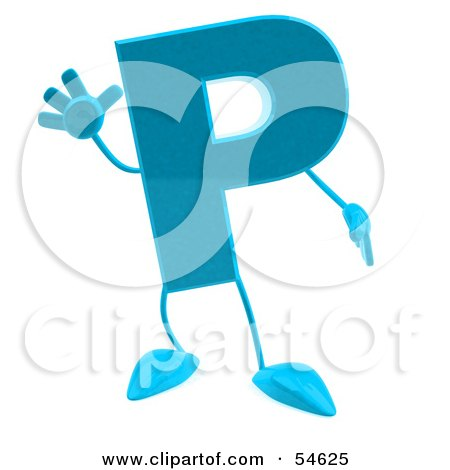 Royalty-Free (RF) Clipart Illustration of a 3d Blue Letter P With Arms And Legs by Julos