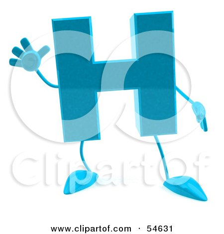 Royalty-Free (RF) Clipart Illustration of a 3d Blue Letter H With Arms And Legs by Julos
