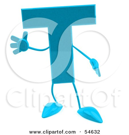 Royalty-Free (RF) Clipart Illustration of a 3d Blue Letter T With Arms And Legs by Julos