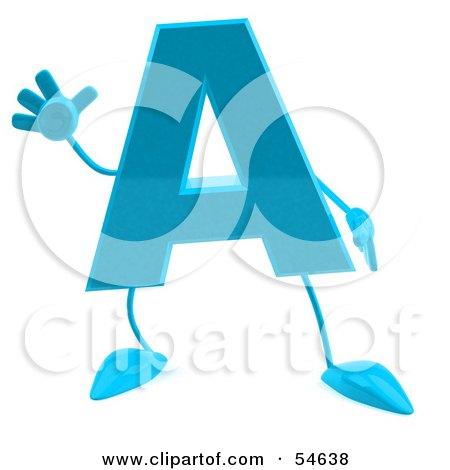 Royalty-Free (RF) Clipart Illustration of a 3d Blue Letter A With Arms And Legs by Julos