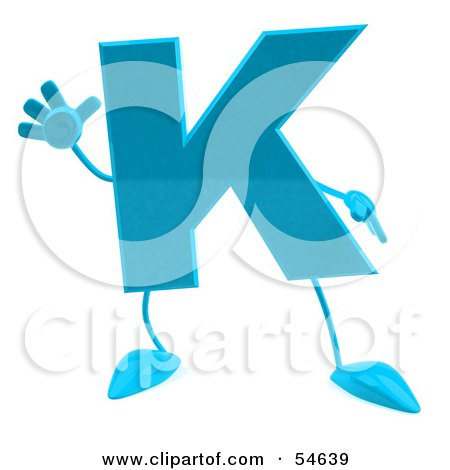 Royalty-Free (RF) Clipart Illustration of a 3d Blue Letter K With Arms And Legs by Julos