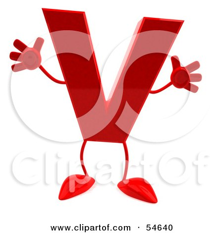 3d Red Letter V With Arms And Legs Posters, Art Prints by ...
