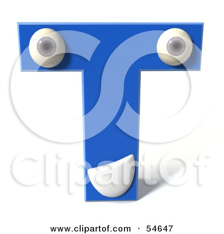 Royalty-Free (RF) Clipart Illustration of a 3d Blue Letter T With Eyes And A Mouth by Julos
