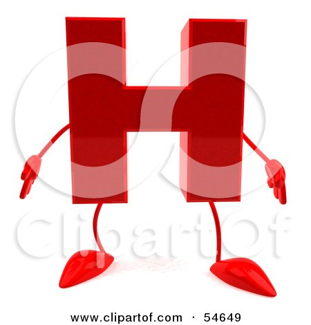 Royalty-Free (RF) Clipart Illustration of a 3d Red Letter H With Arms