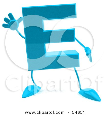 Royalty-Free (RF) Clipart Illustration of a 3d Blue Letter E With Arms And Legs by Julos
