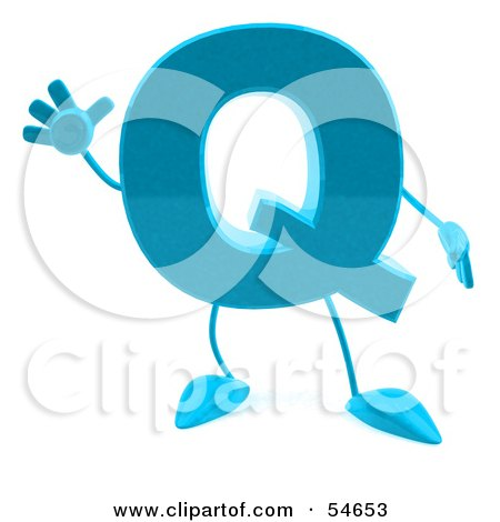Royalty-Free (RF) Clipart Illustration of a 3d Blue Letter Q With Arms And Legs by Julos