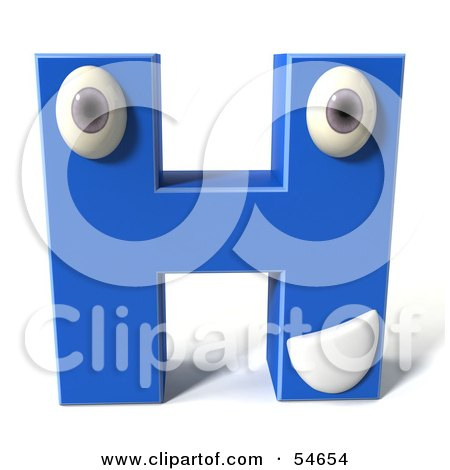 Royalty-Free (RF) Clipart Illustration of a 3d Blue Letter H With Eyes And A Mouth by Julos