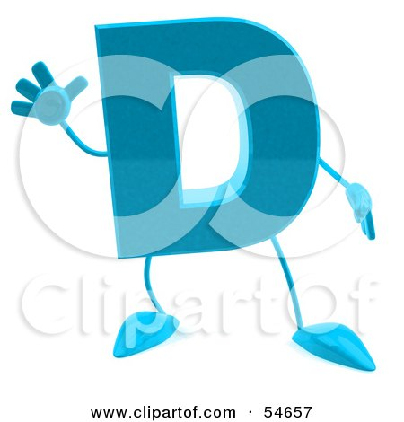 Royalty-Free (RF) Clipart Illustration of a 3d Blue Letter D With Arms And Legs by Julos