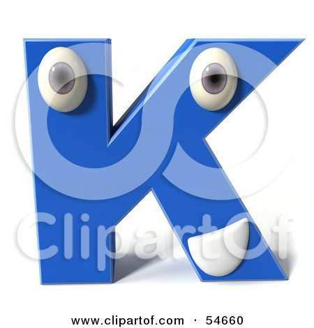 Royalty-Free (RF) Clipart Illustration of a 3d Blue Letter K With Eyes And A Mouth by Julos