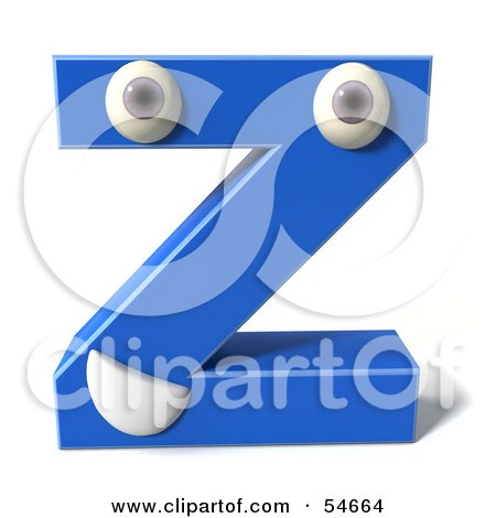 Royalty-Free (RF) Clipart Illustration of a 3d Blue Letter Z With Eyes And A Mouth by Julos
