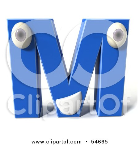 Royalty-Free (RF) Clipart Illustration of a 3d Blue Letter M With Eyes And A Mouth by Julos
