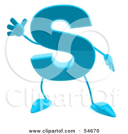 Royalty-Free (RF) Clipart Illustration of a 3d Blue Letter S With Arms And Legs by Julos