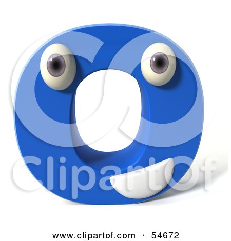 Royalty-Free (RF) Clipart Illustration of a 3d Blue Letter O With Eyes And A Mouth by Julos