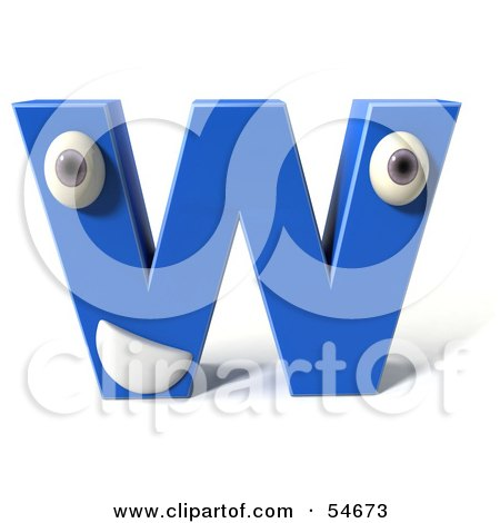 Royalty-Free (RF) Clipart Illustration of a 3d Blue Letter W With Eyes And A Mouth by Julos