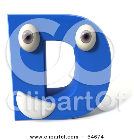 Royalty-Free (RF) Clipart Illustration of a 3d Blue Letter D With Eyes And A Mouth by Julos
