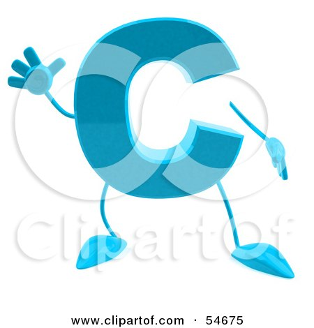 Royalty-Free (RF) Clipart Illustration of a 3d Blue Letter C With Arms And Legs by Julos