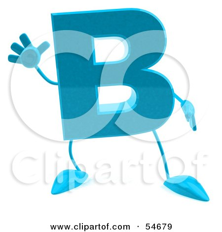 Royalty-Free (RF) Clipart Illustration of a 3d Blue Letter B With Arms And Legs by Julos
