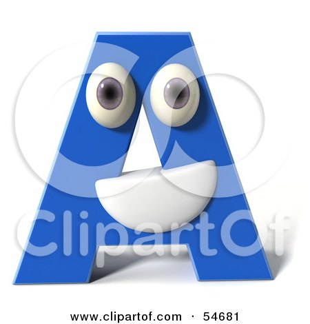 3d Blue Letter A With Eyes And A Mouth Posters, Art Prints