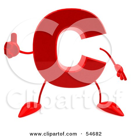 Royalty-Free (RF) Clipart Illustration of a 3d Red Letter C With Arms And Legs Giving The Thumbs Up by Julos