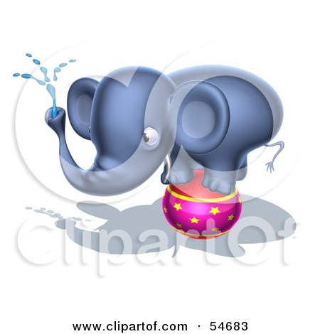 Royalty-Free (RF) Clipart Illustration of a 3d Blue Elephant Character Standing On A Circus Ball And Spraying Water - Pose 4 by Julos